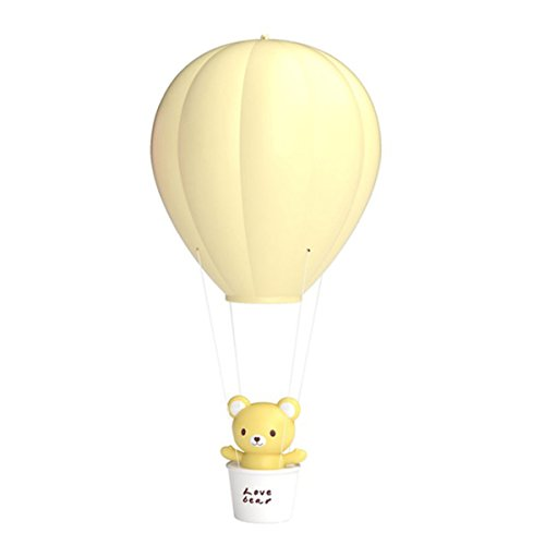 (Children Dimmable Hot Air Balloon LED Night Light, LEDMOMO Touch Control Children Baby Nursery Lamp USB Rechargeable Wall Lamp For Kids Bedroom (Yellow))