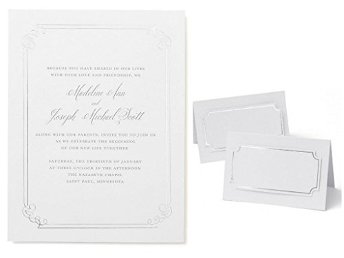 Silver Foil Border Print at Home Invitation Kit, Set of 25, with 50 Place Cards