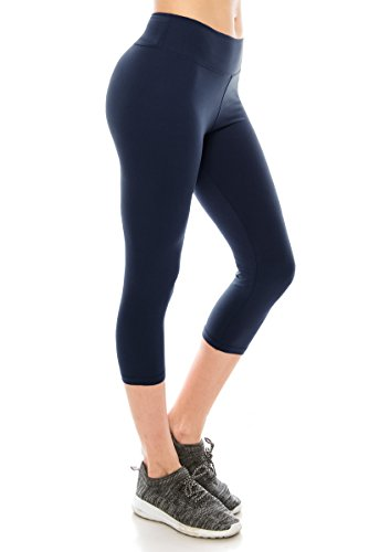 ALWAYS Women High Waisted Capri Leggings - Premium Buttery Soft Stretch Solid Basic Yoga Workout Pants Navy -