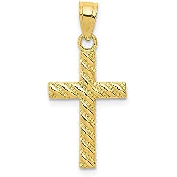 Mia Diamonds 10k Solid Yellow Gold Passion Cross Pendant 30mm x 16mm