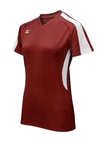 Mizuno Women's Techno Volley IV Short Sleeve Jersey, Cardinal/White, Medium ()