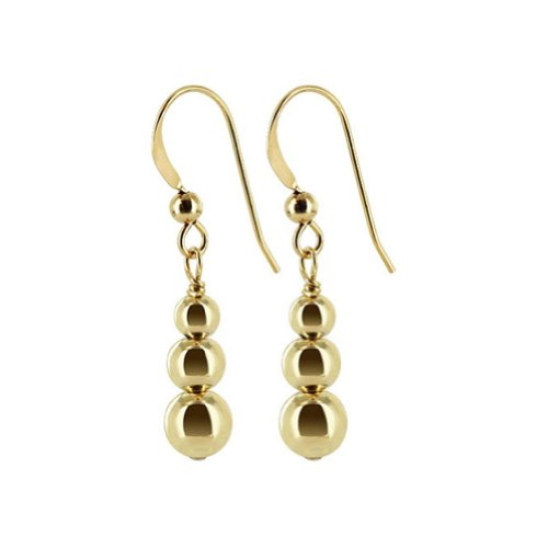 14k Dangle Earrings Leverback (Gem Avenue 14k Gold filled Triple Round ball French Wire Dangle Earrings)