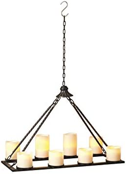 24 Inch Black Metal Hanging Candle Holder for 8 Pillar Candles - Candle Chandelier