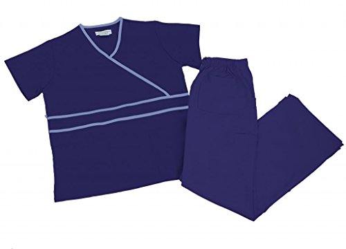 Natural Uniforms Women's Contrast Mock Wrap Scrub Set (Navy Blue) (Small)