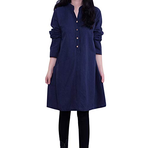 HYIRI ✈Stand Neck Button Dress,Fashion Women Loose Bohe Casual Long Retro Dress ()