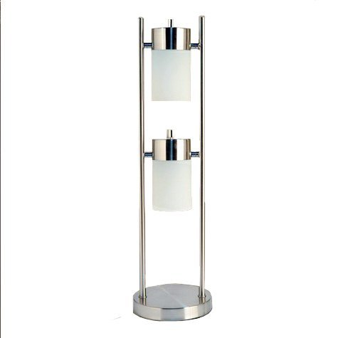 Hongville HV-TLAMP-3031T-WH 2 Light Angle Adjustable Contemporary Acrylic Shades Table Lamp, White