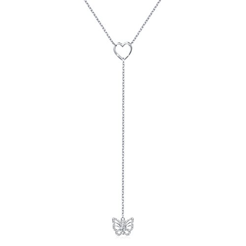 [Y- Necklace 925 Sterling Silver Heart Butterfly Chain Necklace for Women Lady -ALPHM] (Butterfly Chain Necklace)