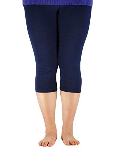 Zando Women's Basic Ultra Soft Comfort Cropped Capri Pants Elastic Lightweight 3/4 Length Plus Size Yoga Leggings Navy 2XL (US (Plus Size Stores)