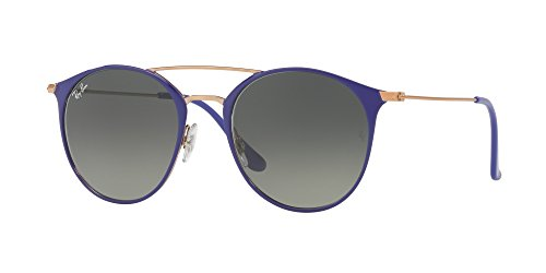 Ray-Ban Steel Unisex Round Sunglasses, Copper on Top Violet, 49 - Ban Clubmaster Ray Purple