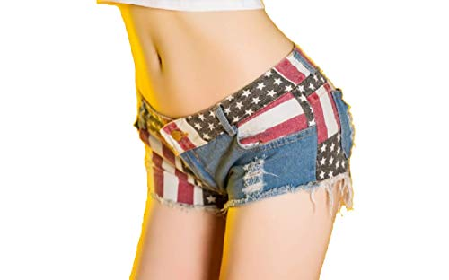 Kurop Women's Low-Rise American Flag Print Hot Pants Shorts Sexy Denim Short Pants (XXL) ()