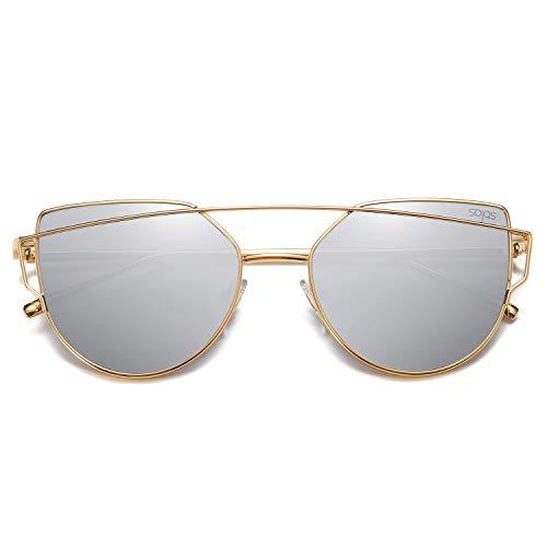 SOJOS Cat Eye Mirrored Flat Lenses Street Fashion Metal Frame Women Sunglasses SJ1001 with Gold Frame/Silver Mirrored Lens