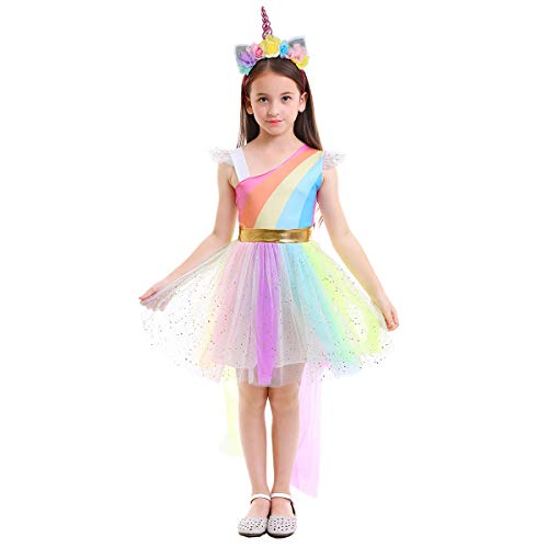 Little Big Girl Rainbow Unicorn Birthday Dress up Sequins Ruffle Tulle Skirt Kids Party Pageant Princess Halloween Fancy Costume Rainbow+3D Headband 6-7T for $<!--$12.65-->
