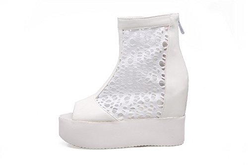 Toe Sandals Solid AmoonyFashion White Heels High Peep Womens PU Zipper PFnn4xtw8