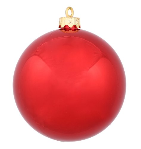 Red Shiny Ball (Vickerman Shiny Finish Seamless Shatterproof Christmas Ball Ornament, UV Resistant with Drilled Cap, 12 per Bag, 2.75