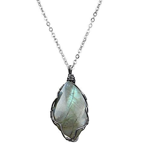 - OCARLY Wire Wrapped L-abradorite Necklace Healing Stone Gemstone Pendant (L-abradorite)