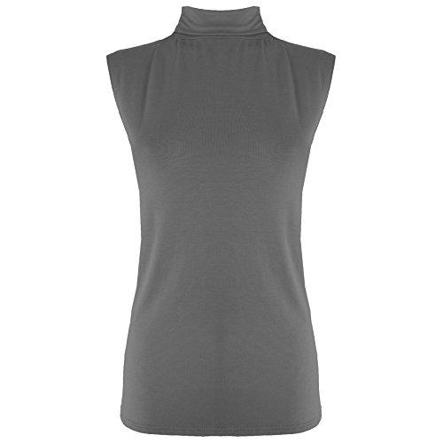 Womens Ladies sin mangas Plain Polo Tortuga Cuello Alto Bodycon chaleco T Shirt Top gris oscuro