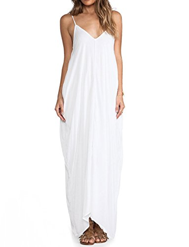 May&Maya Women's Low V-Neck and Low V-Back Maxi Dress (XL, White) ()