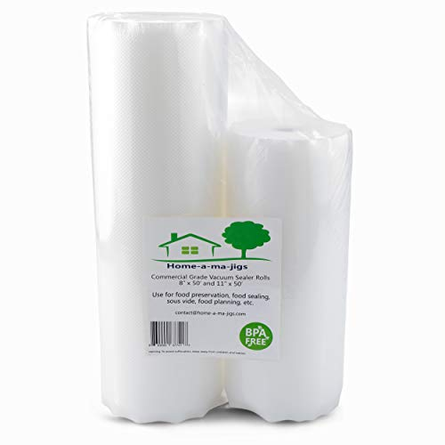 Food Sealer Vacuum Bag Rolls – 8″ x 50′ and 11″ x 50 – Great for Food Preservation