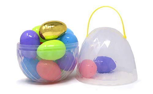 Jumbo Extra Large Clear 10 Inc Giant Easter Egg Container Filled With 17 Plastic Eggs 3 Inc, Includes One Golden Egg, Easter Hunt Accessories By 4E's Novelty