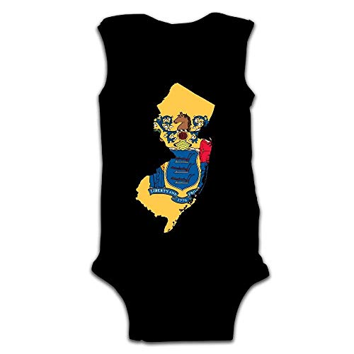 - New Jersey State Map Baby Newborn Infant Creeper Sleeveless Onesie Romper Jumpsuit Black