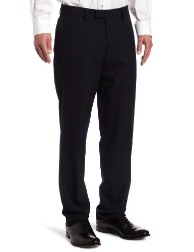 Louis Raphael LUXE 100% Wool Solid Modern Fit Flat Front Dress Pant, Navy, 40x30 (Navy Pants Wool Dress)