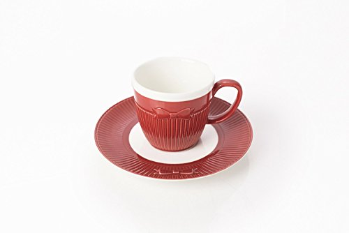 (Yedi Houseware Classic Coffee &Tea Solid Espresso Cups & Saucers (Set of 6) by Yedi Houseware  3.5oz Porcelain In Stylish, Pastel White/Red Colors Cravat Collection for an Authentic, Italian Café Feel)