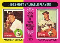 1975 Topps Regular (Baseball) Card# 201 Howard/Koufax MVPs NrMt Condition