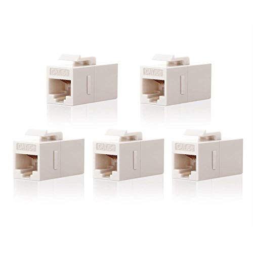 Cat5 Rj 45 White Coupler - CAT5e Keystone Coupler,VCE (5-Pack) RJ45 Female to Female Insert Coupler UTP CAT5e Keystone Inline Coupler -White