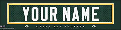 Green Bay Packers NFL Jersey Nameplate Wall Print, Personalized Gift, Boy's Room Decor 6x22 Unframed Poster