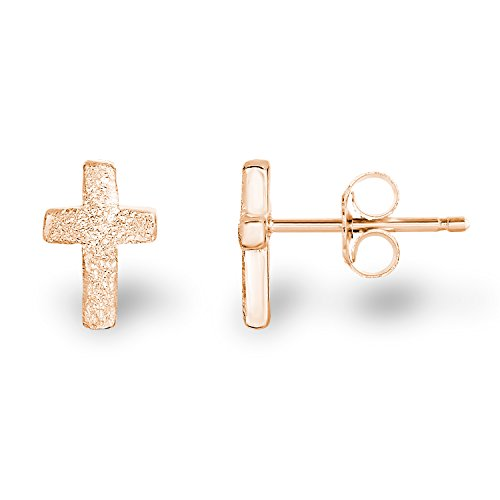 14k Rose Gold-Plated 925 Sterling Silver Matte Finish Textured Mini Latin Cross Stud Earrings
