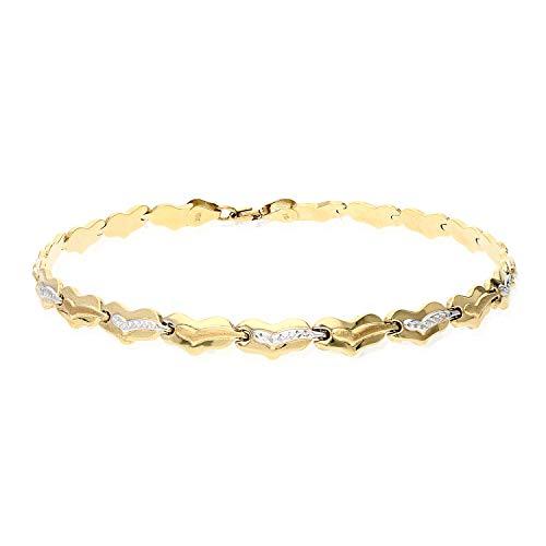 10K Two-Tone Diamond Cut Fancy Heart Stampato Anklet Bracelet 10