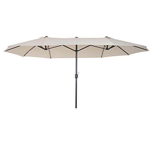 oldzon Double-Sided Patio Umbrella Parasol Sun Shelter Canopy Shade with Ebook