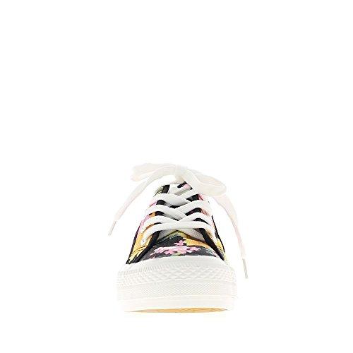 Baskets plates femmes noires motifs fleurs et semelle épaisse
