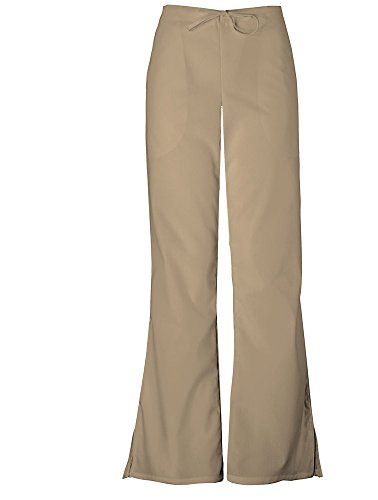 (Cherokee Workwear Women's Flare Leg Pants Dark Khaki Tall Small)