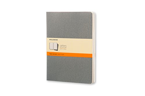 Moleskine Cahier Journal (Set of 3), Extra Large, Ruled, Pebble Grey, Soft Cover (7.5 x 10) by Moleskine Cahier Journals