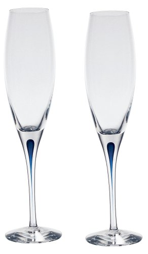 Blue Champagne Glass - Orrefors Intermezzo Blue Flutes, Set of 2