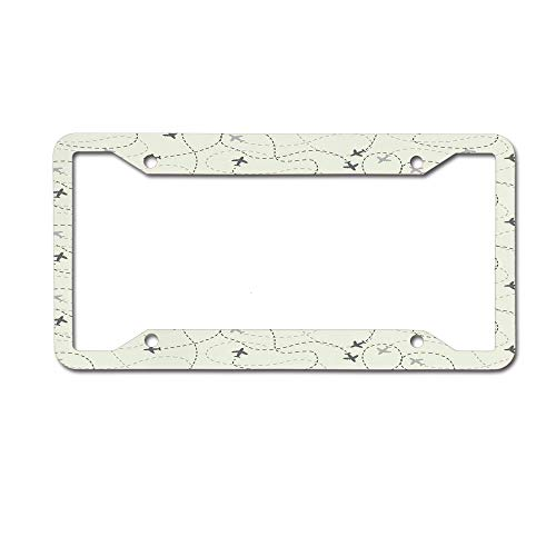 Customized Frames Girly License Plate Frame, Airline Route Map Flight Jet Destination Control Fly Aluminum Metal Car Licenses Plate Cover for for Women/Girls