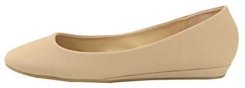 Bella Marie Womens Closed Teen Low Wrapped Wedge Ballet Flat Beige