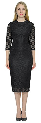 Marycrafts Women's Cocktail Party Long Sleeve Floral Lace Midi Dress 0 Black Daisy ()