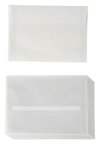 (A7 Size Invitation Envelopes - 25-Pack 5.25 x 7.25 Inches Self Seal Vellum Paper Envelopes for Greeting Cards, Invitations, Announcements, and Photos - Value Pack Square Flap Envelopes, Translucent)