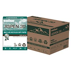 Paper Recycled Copy (BOISE ASPEN 30% Multi-Use Recycled Copy Paper, 8.5 x 11, 92 Bright White, 20 lb, 10 ream carton (5,000 Sheets))