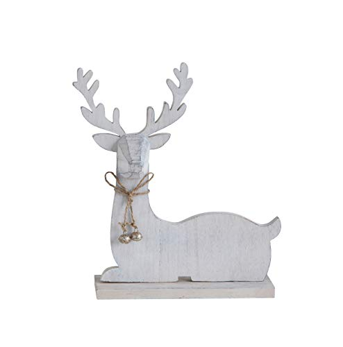 Creative Co-Op 10 Inch Laying Deer Figurine, White Wood