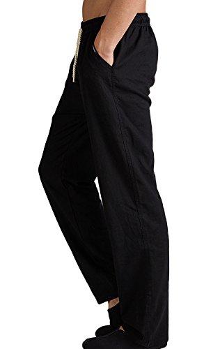 Plage Lin De Taille Elastique Noir Été Homme Pantalons Insun Décontractée XqBfBw