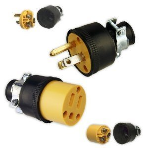 Online Best Service Set Male & Female Extension Cord Replacement Electrical End Plugs (Service Cord)