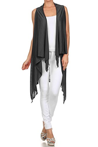 Upparel Women's Asymetric Hem Open Front Vest Cardigan -Made in USA