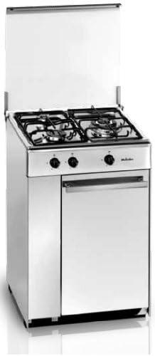 Meireles 5302 DV - Hornillo con 3 quemadores a gas preparado para gas butano/propano, 53,5x56,5cm, Inox