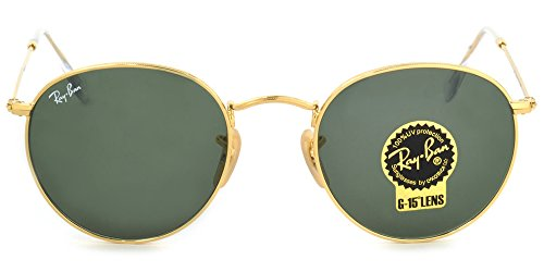 Ray-Ban RB3447 Authentic Round Metal Sunglasses. Color Gold - 001 Rb3447