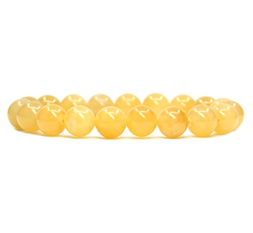 Amandastone Natural Yellow Jade Genuine Semi-Precious Gemstones Healing 10mm Beaded Stretch Bracelet 7