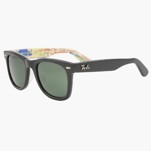 aea995b565 Amazon.com  RAY BAN WAYFARER RARE PRINTS NYC METRO Sunglasses - RB2140 1028  (50mm)  Clothing