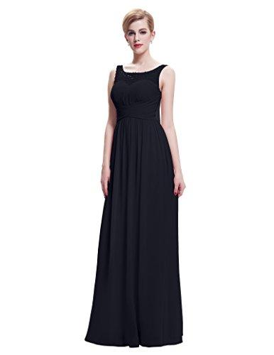 Belle Poque® Vestido Largo de Fiesta para Boda Vestido de Gala sin Mangas de Ceremonia para Mujer Maxi Negro(st61-1)
